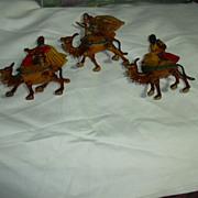 SOLD Set 3 Old Hong Kong Wise Men Kings & Camels Nativity Christmas Figures