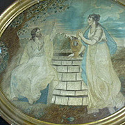 Antique Silk Embroidery Painting  Needlework Art Sampler Jesus Rebecca At The Well