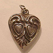 Sterling Silver Heart Charm Two Hearts In a Heart From a Fine Old Collection of Puffy & Sterli