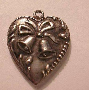 Sterling Silver Heart Charm Wedding or Christmas Bells Repousse Border From a Collection of Puffy & Sterling Hearts