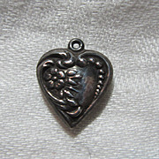 Sterling Silver Heart Charm Flower & Repousse From a Fine Collection of Sterling & Puffy Heart