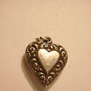 Sterling Silver Heart Charm Big Heart Within A Heart Repousse Borders From A Fine Collection o