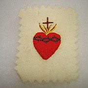 Old Hand Sewn & Embroidered Sacred Heart Reliquary Nun Estate