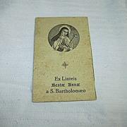 Reliquary Card Blessed Anne of St Bartholomew St Terese Of Avila Interest