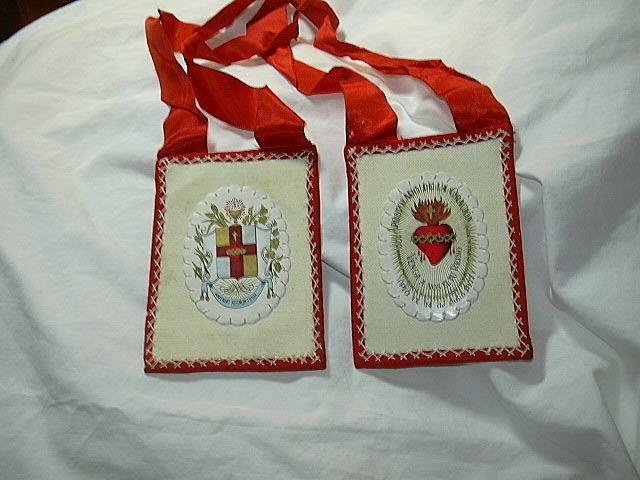 Large Hand Sewn Scapular Wool ribbon & Sacred Heart