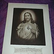 Jesus Sacred Heart Old Catholic Print Fine Religious Christianity Art