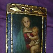 Italian Florentine Plaque Virgin Mary Infant Jesus Religious Art Gold Gilt Gesso Frame