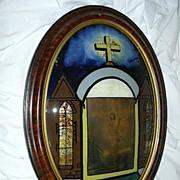 Rare Large Bubble Glass Tabernacle Art Reverse Painted Glass Catholic Crucifix