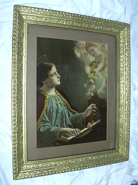 St Cecelia Old Print Piano & Angels Framed Catholic Art from antiques-jewelry-sacred-treasures