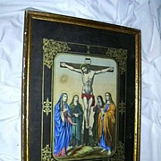 SALE Rare Old German Christ On The Cross Print Crucifixion Framed Art