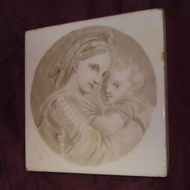 Rare Madonna & Child Old Tile Raphael Madonna Della Seggiola