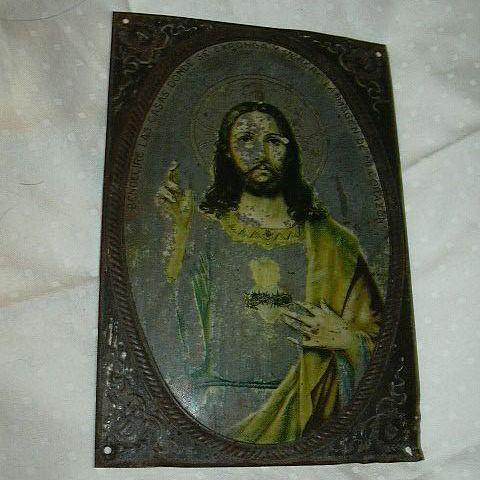 Jesus Sacred Heart Tin Retable House Blessing