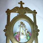 Hand Painted Porcelain Miniature Art Virgin Mary Our Lady & Infant Jesus With Angels