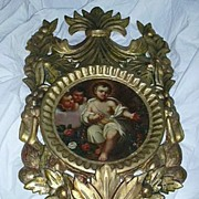 Infant Jesus Religious Art Painting On Canvas Ornate Frame