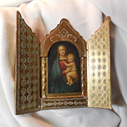 Italian Florentine Triptych Virgin Mary Infant Jesus