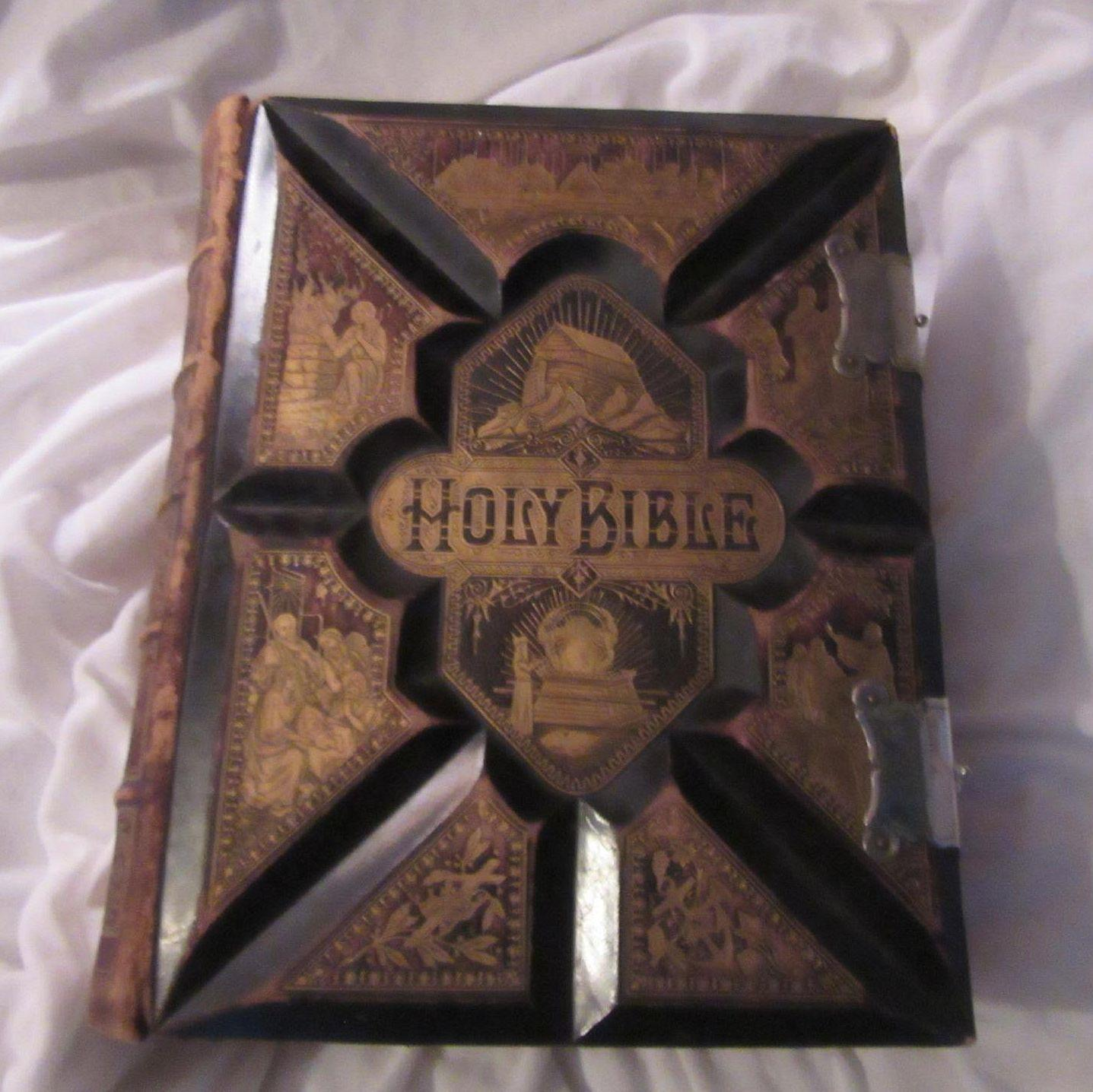 1890 Holy Bible Leather Family Size