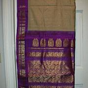 Vintage Indian Sari Honey Beige & Purple Ikat Fine Textiles Fabric of India