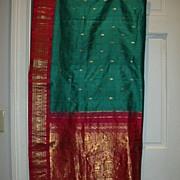 Vintage Indian Sari Teal Green Silk Fine Textiles Fabric of India