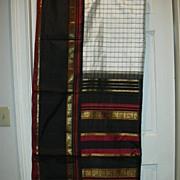 Vintage Indian Sari White Black Plaid Silk Fine Textiles Fabric of India