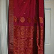 Vintage Indian Sari Fuschia & Copper Design Fine Textiles Fabric of India