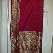 Vintage Indian Sari Fuschia Silk With Gold Zari & Green Fine Textiles Fabric of India
