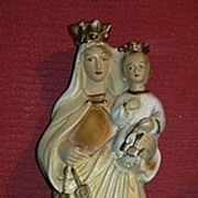 Virgin Mary Infant Jesus Our Lady of Mt Carmel Scapular Statue Old Catholic Figurine