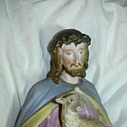 SALE PENDING Jesus Christ & Lamb Porcelain Figurine Old Religious Statue