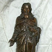 1880's French Metal Jesus Sacred Heart Sacre Coeur Statue Fine Religious Figurine