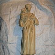 French Pipe Clay St Anthony & Infant Jesus Statue Fine Catholic Religious Figurine