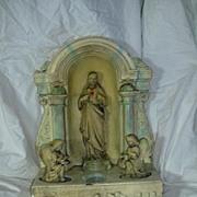Old Chalk Plaster Sacred Heart of Jesus Shrine With Altar Angels