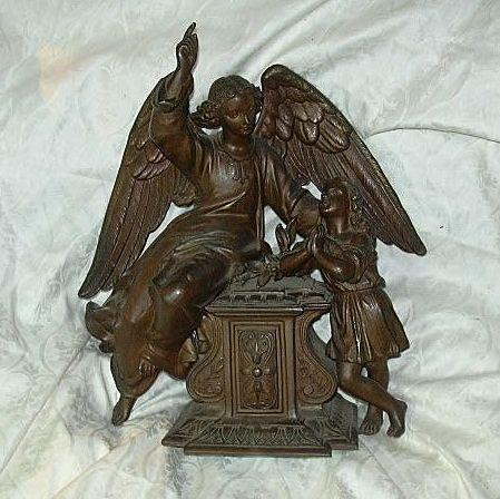Old French Spelter Guardian Angel & Young Girl Statue