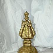 Gold Plastic Jesus Child Infant Of Prague Statue Figurine Rosary Holder