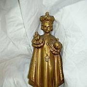 Old Gold Gilt Metal Infant Of Prague Statue Figurine