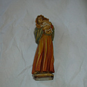 Italy Wood Statue Virgin Mary & Infant Jesus Figurine