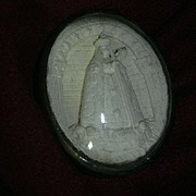 Old French Pipe Clay Cameo Virgin Mary Our Lady