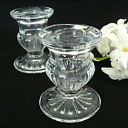 Heavy Clear Pressed Glass Candle Holders