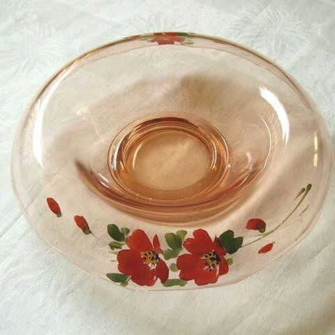 Hand Painted Red Flowers On Rolled Rim Console