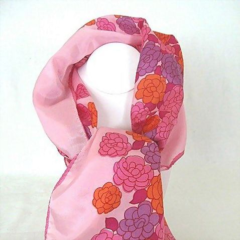 Pink Neck Scarf Laden with Red & Purple Flowers