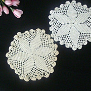 SOLD Pair Small Round Hand Crocheted Doilies