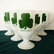 Milk Glass Irish Coffee Mugs With Advertising & Shamrocks