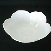 White Milk Glass Small Bowl With Petaled Edge
