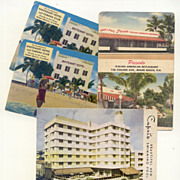 SALE Set Early Miami Vacation Postcards