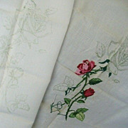 SALE Unfinished Satin Roses Embroidery Needs Final Touch