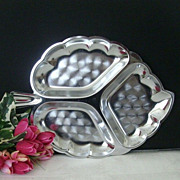 SALE Aluminum Fancy Leaf-Shaped Server