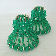 SALE Beaded Safety Pin Craft Candle Holders Dated 1960's