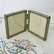 SOLD Double Folding Gold Tone Picture Frame