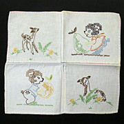 SALE Mid-Century Child's First Embroidery