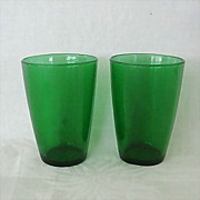 SALE Pair Forest Green Tapered Flat Juice Glasses