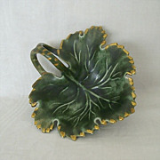SALE Green Leaf Ceramic Dish With Gold Accents