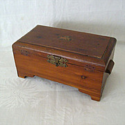 SALE Tiny Decal Tops 1940s Wood Keepsake Box